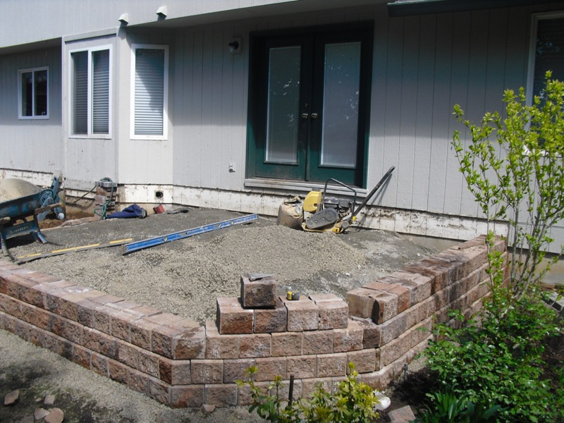 Before Picture Raised Paver Patio