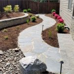 flagstone patio install by Boulder Falls Landscaping in Vancouver WA and Portland OR.